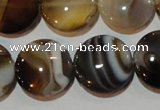 CAG3505 15.5 inches 20mm flat round brown line agate beads
