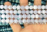 CAG3583 15.5 inches 8mm round matte blue lace agate beads