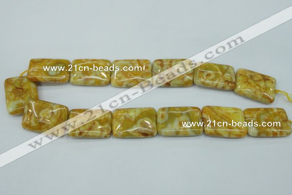 CAG3625 15.5 inches 22*30mm rectangle yellow crazy lace agate beads