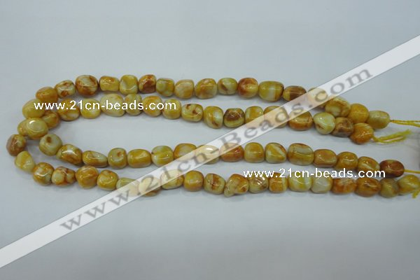 CAG3635 15.5 inches 10*12mm nuggets yellow crazy lace agate beads