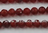 CAG3661 15.5 inches 8mm carved round matte red agate beads