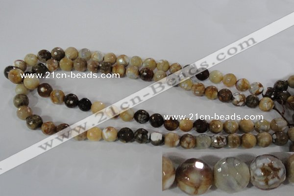CAG3863 15.5 inches 10mm faceted round fire crackle agate beads