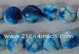 CAG3874 15.5 inches 12mm faceted round fire crackle agate beads