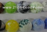 CAG3880 15.5 inches 14mm faceted round fire crackle agate beads