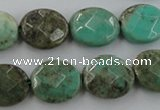 CAG3931 15.5 inches 10*12mm faceted oval green grass agate beads