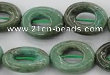 CAG3945 15.5 inches 13*18mm oval donut green grass agate beads