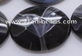 CAG3978 15.5 inches 30*40mm faceted oval grey botswana agate beads