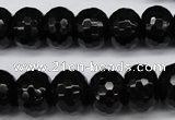 CAG3996 15.5 inches 10*14mm faceted rondelle black agate beads
