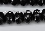 CAG3997 15.5 inches 12*16mm faceted rondelle black agate beads