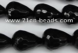 CAG4002 15.5 inches 15*20mm faceted teardrop black agate beads