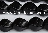 CAG4007 15.5 inches 13*18mm twisted rice black agate beads