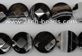 CAG4020 15.5 inches 14mm faceted coin black agate beads