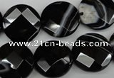 CAG4022 15.5 inches 18mm faceted coin black agate beads