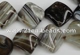 CAG4040 15.5 inches 15*15mm twisted diamond black agate beads