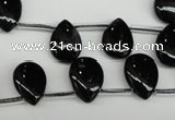 CAG4042 Top-drilled 10*14mm flat teardrop black agate beads