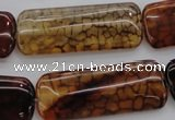 CAG4056 15.5 inches 15*38mm rectangle dragon veins agate beads
