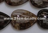 CAG4084 15.5 inches 22*30mm flat teardrop dragon veins agate beads