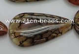 CAG4085 15.5 inches 20*40mm flat teardrop dragon veins agate beads