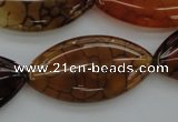 CAG4090 15.5 inches 20*40mm marquise dragon veins agate beads
