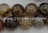 CAG4115 15.5 inches 16mm round dragon veins agate beads