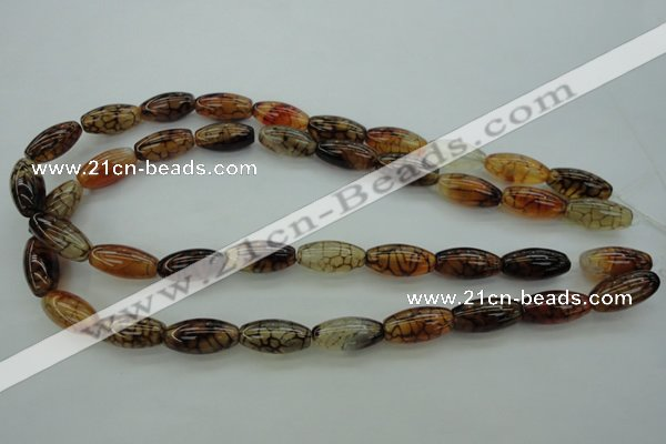 CAG4127 15.5 inches 10*20mm rice dragon veins agate beads