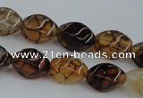 CAG4148 15.5 inches 6*10mm twisted rice dragon veins agate beads