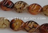 CAG4150 15.5 inches 8*12mm twisted rice dragon veins agate beads