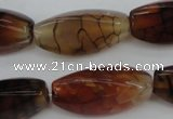CAG4164 15.5 inches 10*20mm twisted trihedron dragon veins agate beads