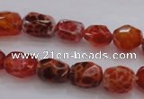 CAG4175 15.5 inches 9*12mm faceted nuggets natural fire agate beads