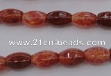 CAG4192 15.5 inches 7*12mm hexahedron natural fire agate beads