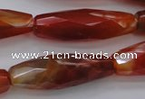 CAG4198 15.5 inches 12*35mm faceted rice natural fire agate beads