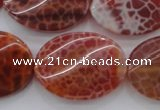 CAG4240 15.5 inches 22*30mm twisted oval natural fire agate beads