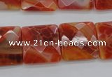 CAG4253 15.5 inches 18*18mm faceted square natural fire agate beads