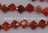 CAG4261 15.5 inches 8*8mm faceted diamond natural fire agate beads