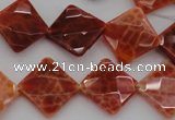 CAG4263 15.5 inches 14*14mm faceted diamond natural fire agate beads