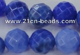 CAG4314 15.5 inches 12mm faceted round dyed blue fire agate beads