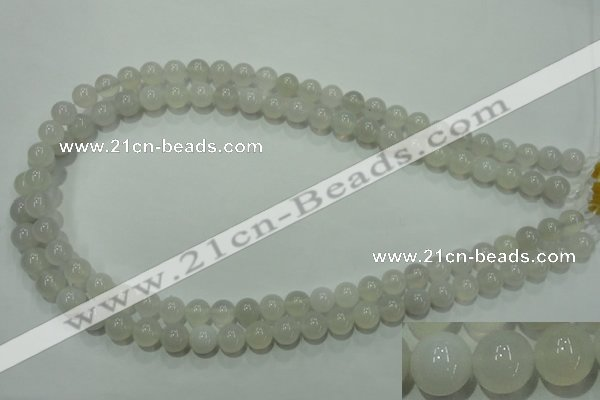 CAG4342 15.5 inches 8mm round white agate beads wholesale