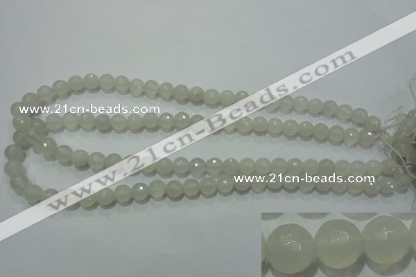 CAG4350 15.5 inches 8mm faceted round white agate beads wholesale