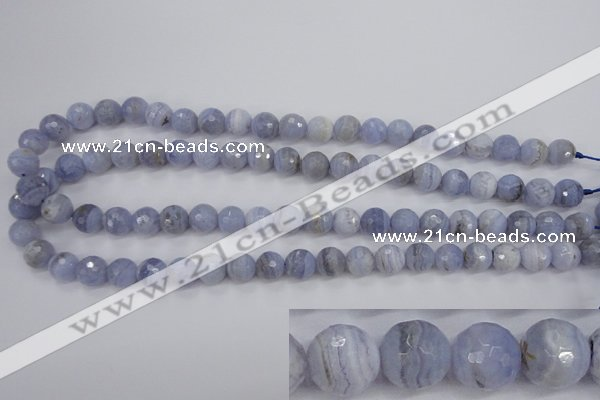 CAG4363 15.5 inches 10mm faceted round blue lace agate beads
