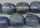 CAG4379 15.5 inches 15*20mm nuggets dyed blue lace agate beads