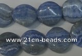 CAG4380 15.5 inches 16mm flat round dyed blue lace agate beads