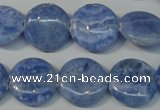 CAG4381 15.5 inches 18mm flat round dyed blue lace agate beads