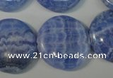 CAG4383 15.5 inches 25mm flat round dyed blue lace agate beads