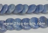 CAG4392 15.5 inches 14mm flat round dyed blue lace agate beads