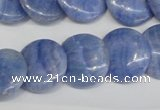 CAG4393 15.5 inches 18mm flat round dyed blue lace agate beads