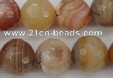 CAG4475 15.5 inches 14mm faceted round pink botswana agate beads