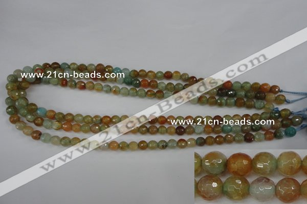 CAG4481 15.5 inches 6mm faceted round fire crackle agate beads