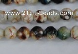 CAG4483 15.5 inches 6mm faceted round fire crackle agate beads