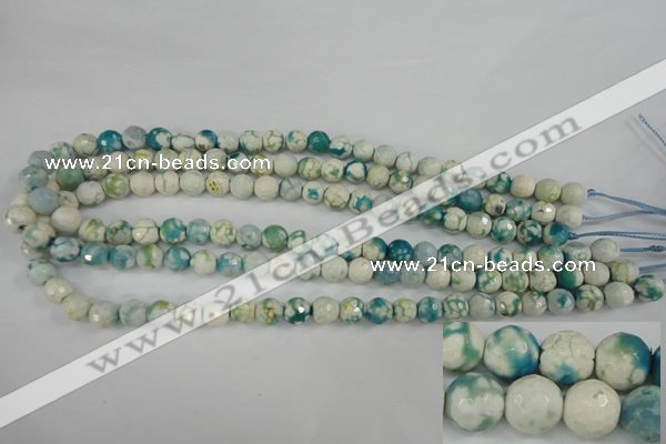 CAG4492 15.5 inches 8mm faceted round fire crackle agate beads