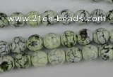 CAG4497 15.5 inches 8mm faceted round fire crackle agate beads